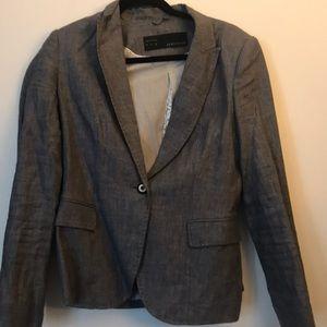 Zara gray stitching blazer large
